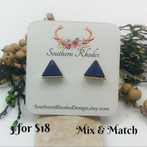 3 for $18- Navy Blue Crackled Triangle Studs